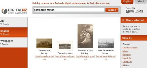 Search results screen from DigitalNZ